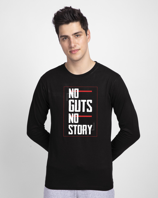 Shop No Story Full Sleeve T-Shirt-Front