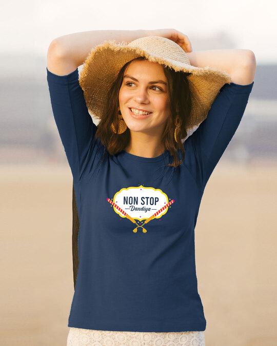 Shop Non Stop Dandiya Round Neck 3/4th Sleeve T-Shirt Navy Blue-Front