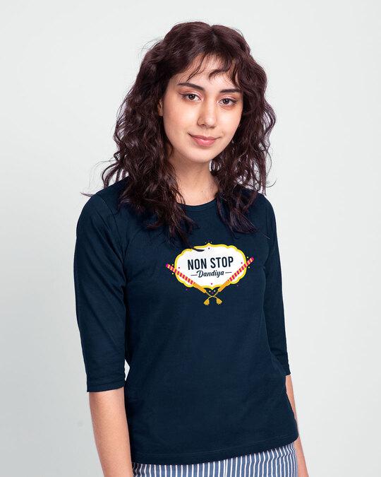 Shop Non Stop Dandiya Round Neck 3/4th Sleeve T-Shirt Navy Blue-Back