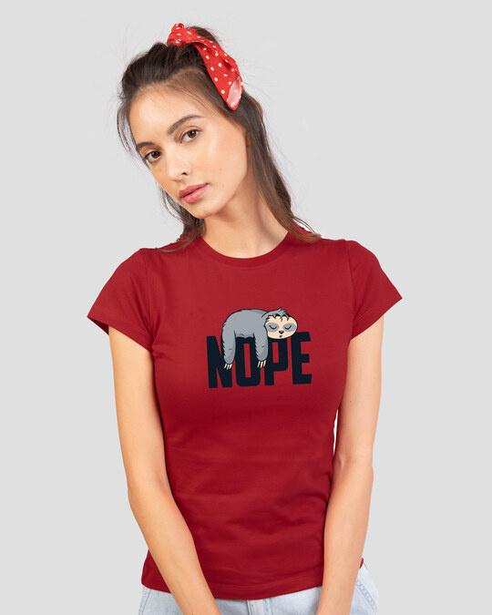 Shop Nope Lazy Half Sleeve Printed T-Shirt Bold Red-Back