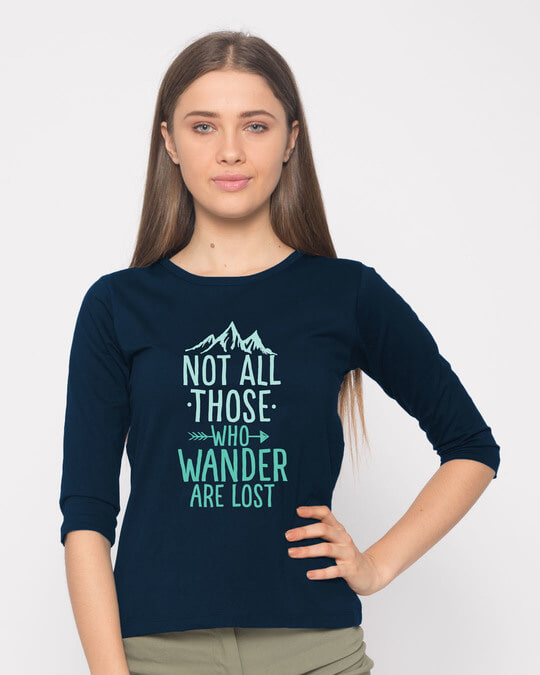 Shop Not All Who Round Neck 3/4th Sleeve T-Shirt-Front