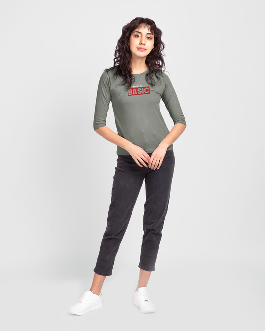 Shop Not At All Basic Round Neck 3/4 Sleeve T-Shirt Meteor Grey-Design