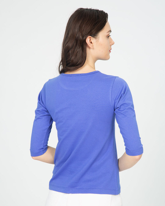 Shop Not Interested Round Neck 3/4th Sleeve T-Shirt (DL)-Back