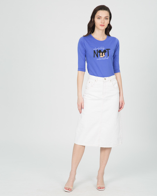 Shop Not Interested Round Neck 3/4th Sleeve T-Shirt (DL)-Full