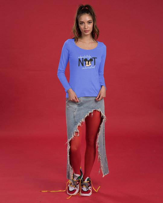 Shop Not Interested Scoop Neck Full Sleeve T-Shirt (DL)-Full