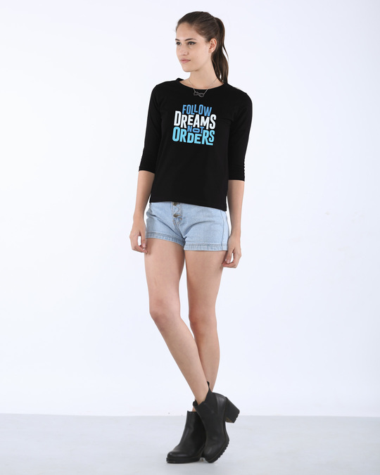 Shop Not Orders Round Neck 3/4th Sleeve T-Shirt
