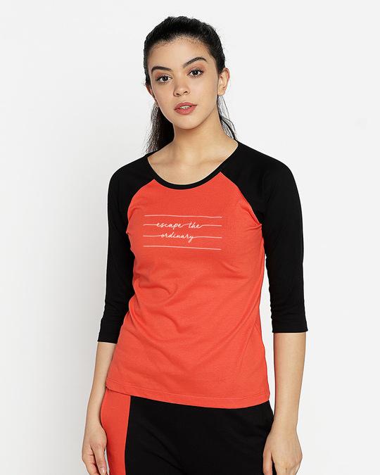 Shop Not Ordinary Neck 3/4th Sleeve Raglan T-Shirt-Front