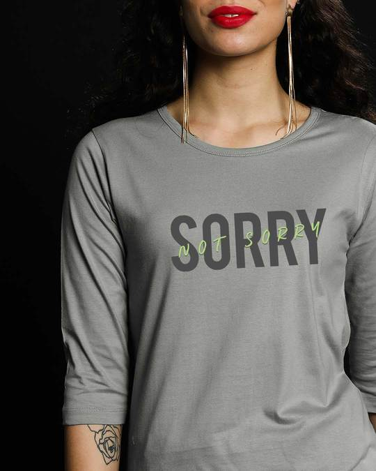 Shop Not Sorry Neon Round Neck 3/4th Sleeve T-Shirt-Front