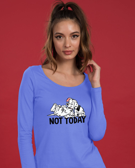 Shop Not Today Dalmations Scoop Neck Full Sleeve T-Shirt (DL)-Front