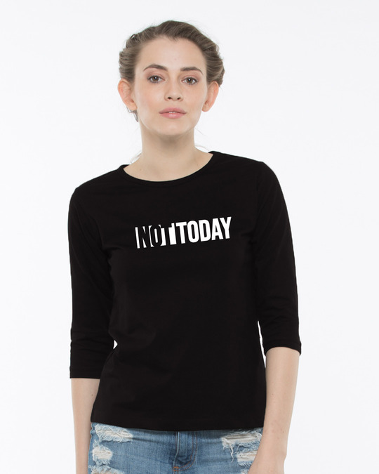 Shop Not Today Monday Round Neck 3/4th Sleeve T-Shirt-Front