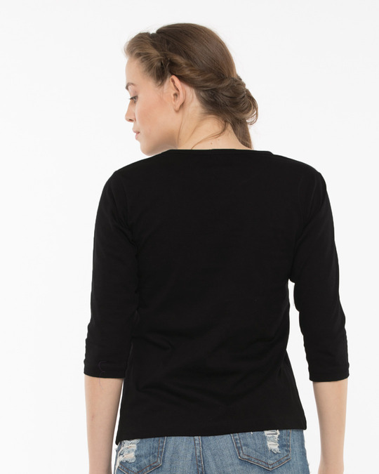 Shop Not Today Monday Round Neck 3/4th Sleeve T-Shirt-Back