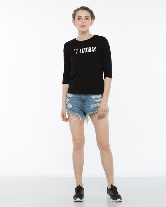 Shop Not Today Monday Round Neck 3/4th Sleeve T-Shirt-Design