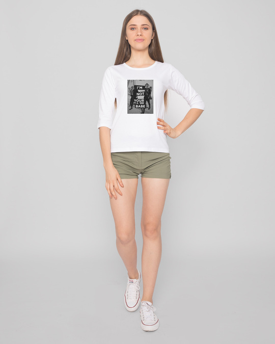 Shop Not Your Babe Round Neck 3/4 Sleeve T-Shirts-Full