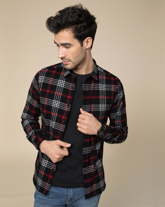 Shop Obsidian Black Checked Shirt-Front