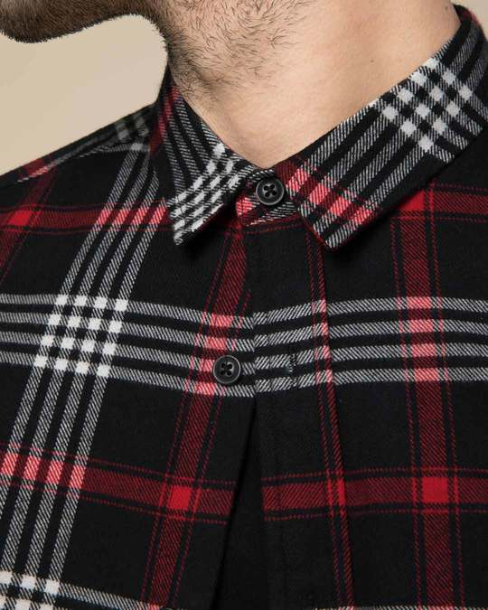 Shop Obsidian Black Checked Shirt