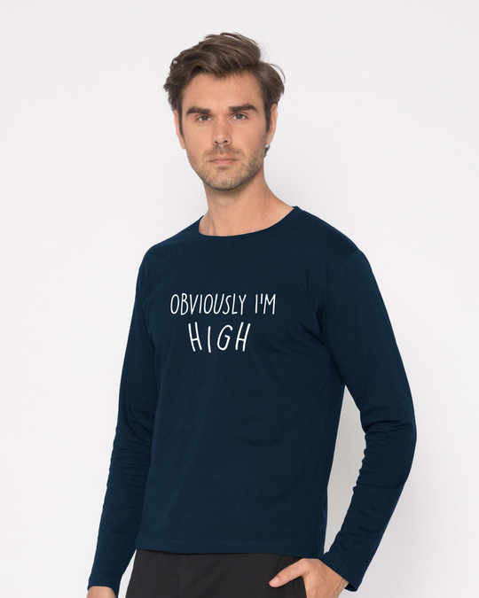 Shop Obviously I'm High Full Sleeve T-Shirt-Back