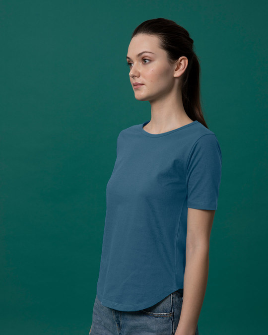 Shop Ocean Blue Basic Round Hem T-Shirt-Full