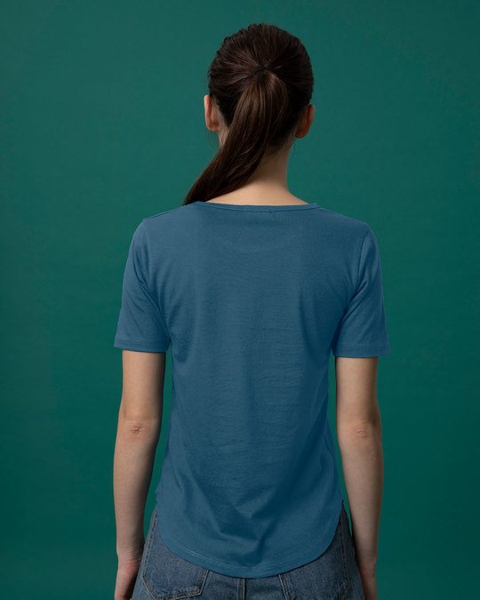 Shop Ocean Blue Basic Round Hem T-Shirt