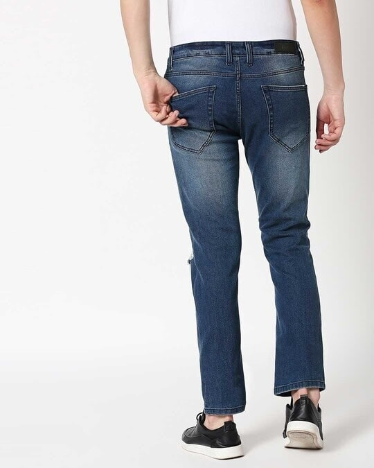 Shop Ocean Blue Distressed Mid Rise Stretchable Men's Jeans-Full