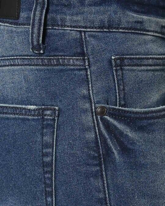 Shop Ocean Blue Distressed Mid Rise Stretchable Men's Jeans