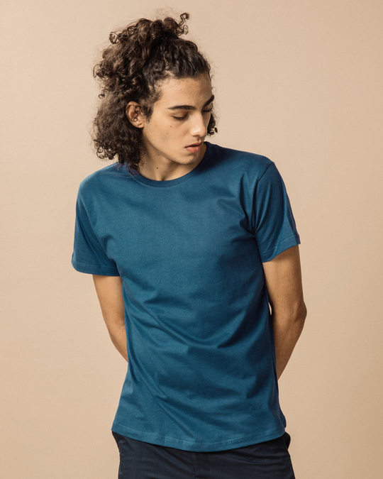 Shop Ocean Blue Half Sleeve T-Shirt-Back