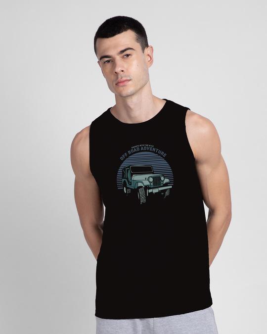 Shop Off Road Jeep Round Neck Vest Black-Front
