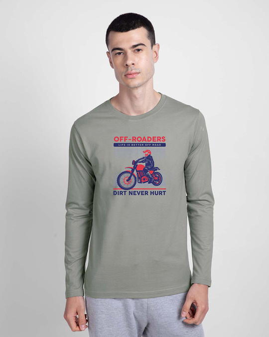 Shop Off Roaders Full Sleeve T-Shirt Meteor Grey-Front