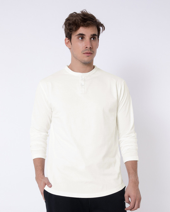 Shop Off White Full Sleeve Henley T-Shirt-Front