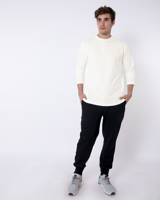 Shop Off White Full Sleeve Henley T-Shirt-Full