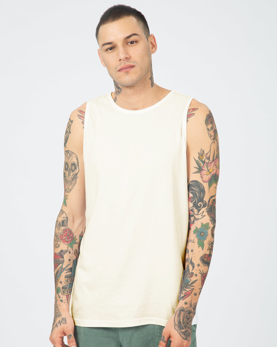 Shop Off White Round Neck Vest-Front