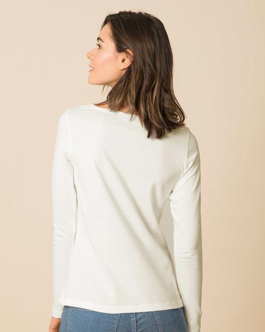 Shop Off White Scoop Neck Full Sleeve T-Shirt-Design