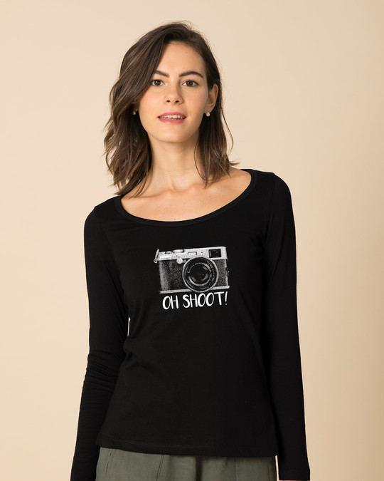 Shop Oh Shoot Scoop Neck Full Sleeve T-Shirt-Front