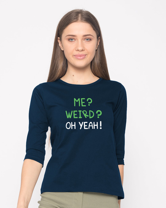 Shop Oh Yeah Round Neck 3/4th Sleeve T-Shirt-Front