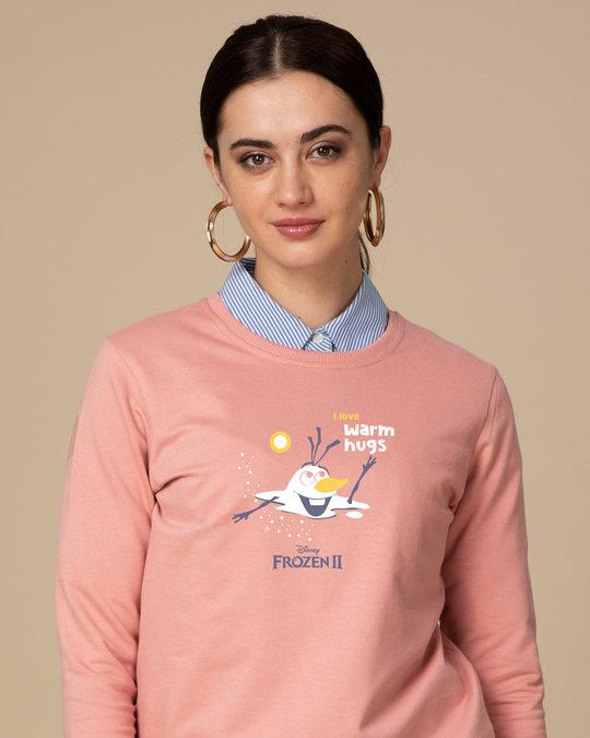 Shop Olaf-i Love Warm Hugs Fleece Light Sweatshirt (FROZEN)-Front