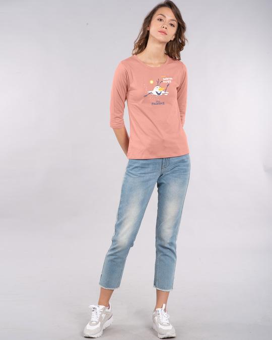 Shop Olaf-i Love Warm Hugs Round Neck 3/4th Sleeve T-Shirt (FROZEN)-Full