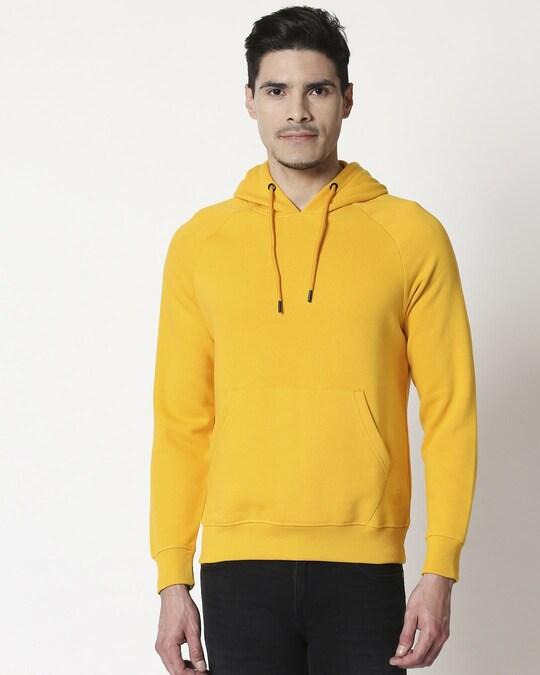 Shop Old Gold Basic Hoodie Sweatshirt-Back