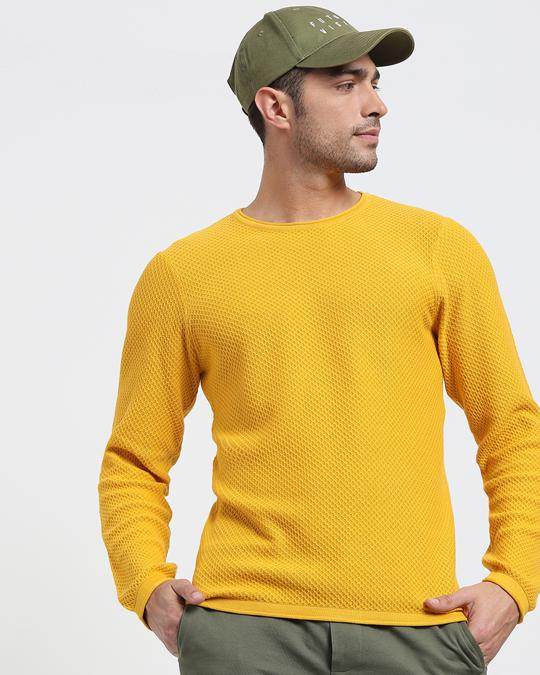 Shop Old Gold Full Sleeve Flat Knit Sweater-Front