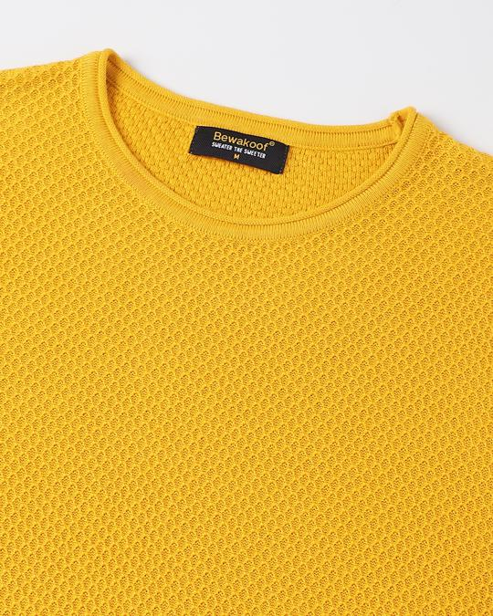 Shop Old Gold Full Sleeve Flat Knit Sweater