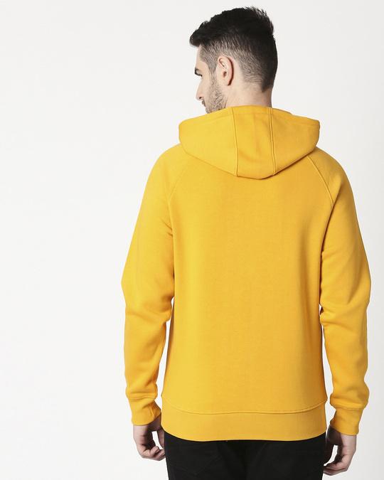 Shop Old Gold Stylised Panel Hoodie SweatShirt