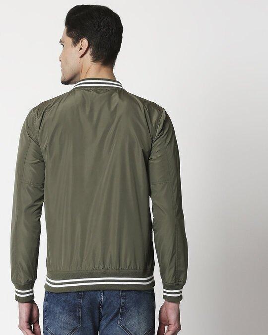 Shop Olive Anti Varsity Bomber Jacket-Full