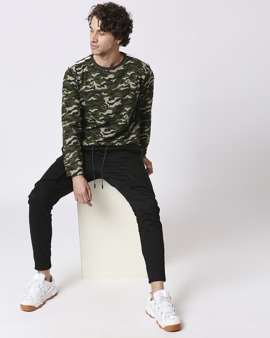 Shop Olive Camo Full Sleeve Camo T-Shirt