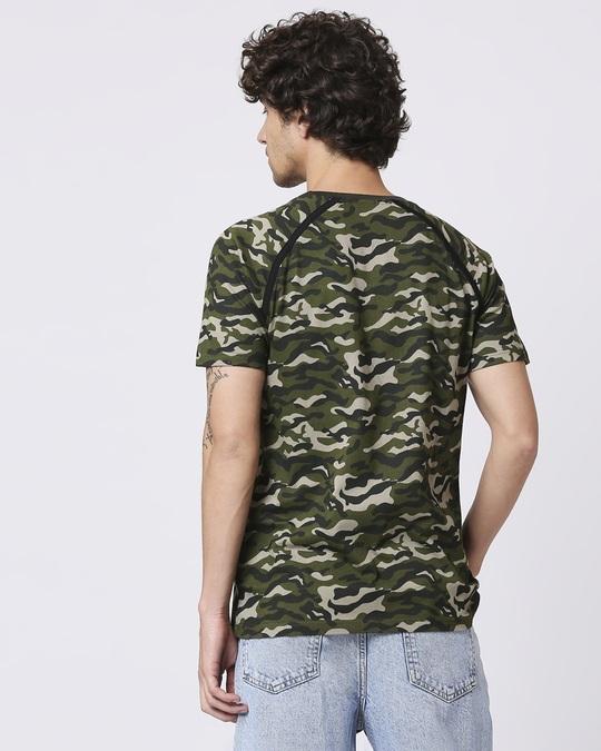 Shop Olive Camo Half Sleeve Side Panel Camo T-Shirt-Full