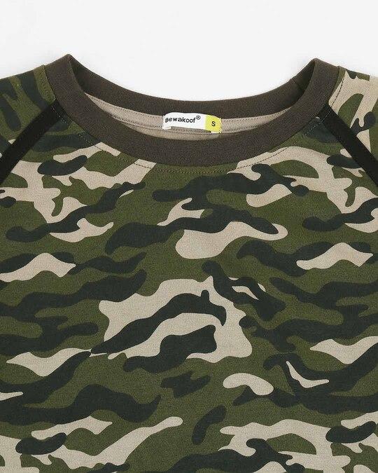 Shop Olive Camo Half Sleeve Side Panel Camo T-Shirt