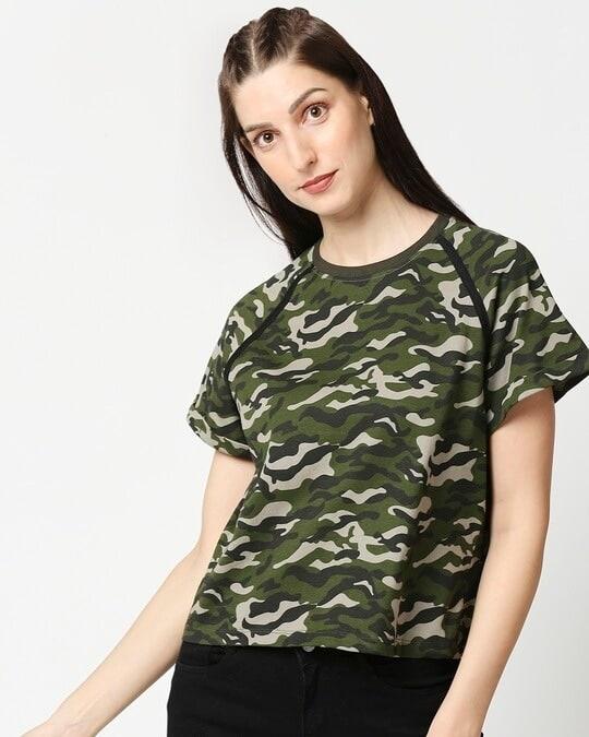 Shop Olive Camo Plain Raglan Boyfriend Camo T-Shirt-Front