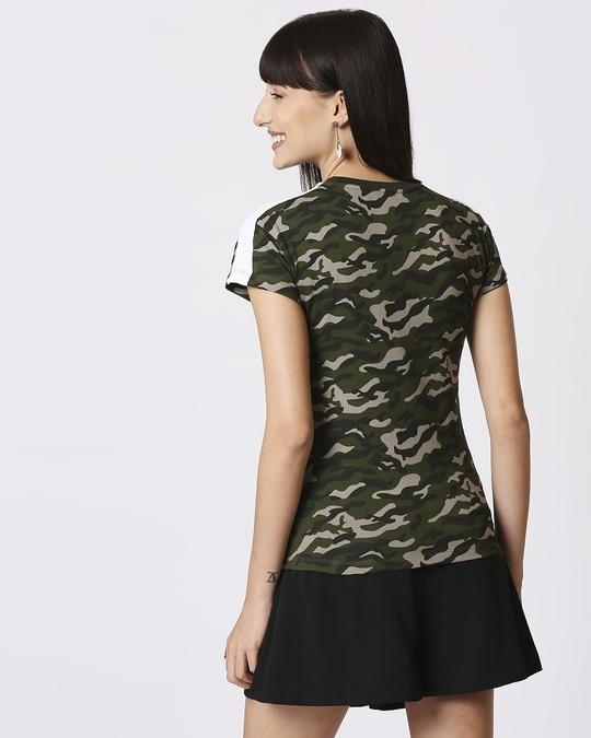 Shop Olive Camo Plain Shoulder Sleeves Panel Half Sleeves Camo T-Shirt-Design