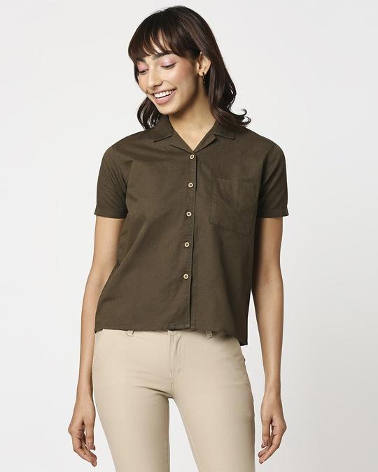 Shop Women's Linen Half Sleeves Lapel Collar Pocket Shirt-Back