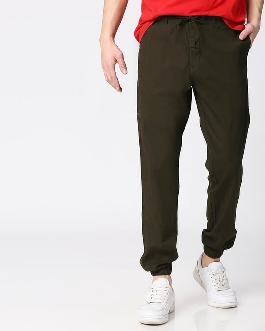 Shop Dark Olive Cotton Jogger Pants-Front
