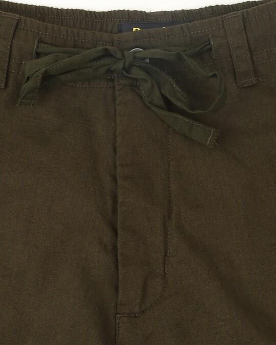Shop Dark Olive Cotton Jogger Pants