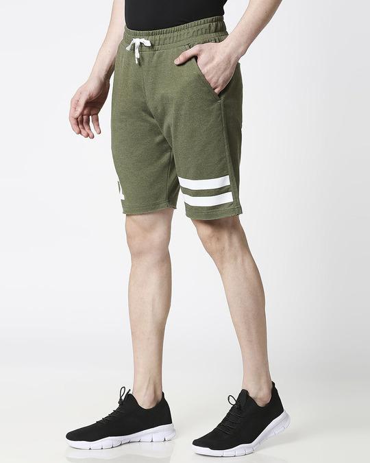 Shop Olive Melange Men Shorts-Back