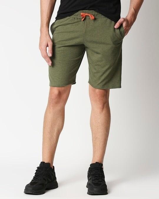 Shop Olive Melange Men Shorts-Front